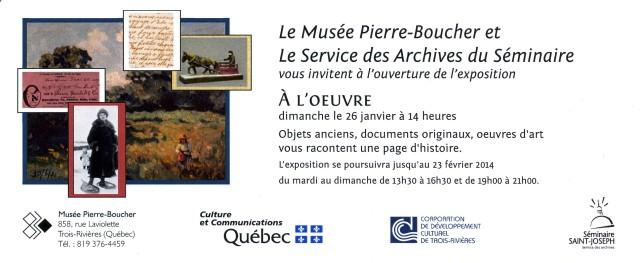 Invitation du Musée Pierre-Boucher et du Service des archives du Séminaire Saint-Joseph